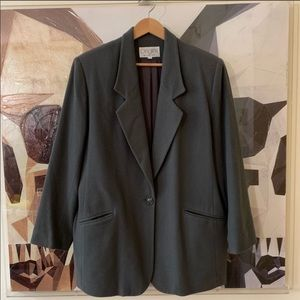 Origins wool & cashmere one button coat green 14